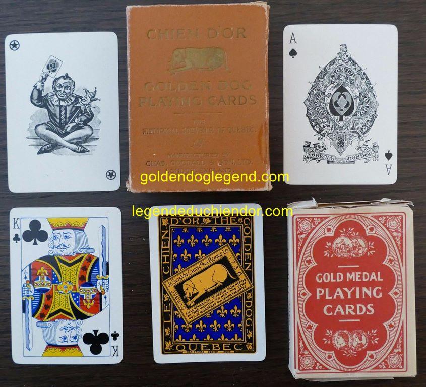 Jeu complet de 52 cartes, comme neuves. Incluant un joker et une carte en blanc (avec même endos que les autres cartes). L'emballage est endommagé