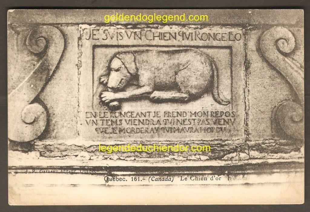 Carte postale, en noir et blanc, montrant le bas-relief du Chien d'Or, de Québec. Elle est adressée à Camille et Henry Blanchard, Heidelberg, Allemagne et est datée du 2 août 1907.