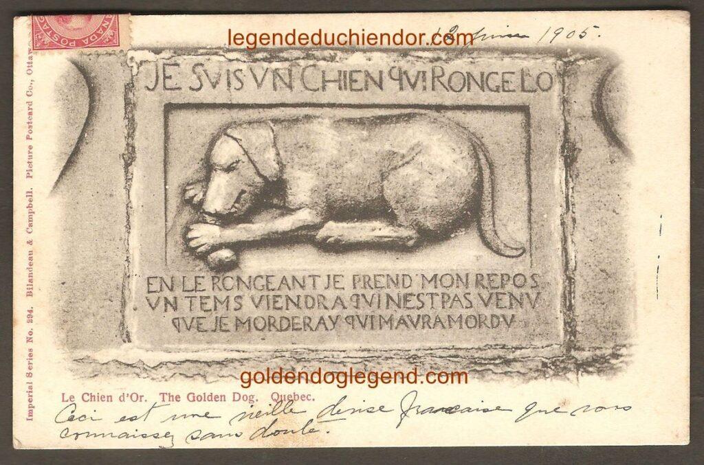Le bas-relief du Chien d'Or sur une carte postale de Bilaudeau, Ottawa. Postée le 12 juin 1905, à destination de la France. On note l'absence de cachet postal de départ.