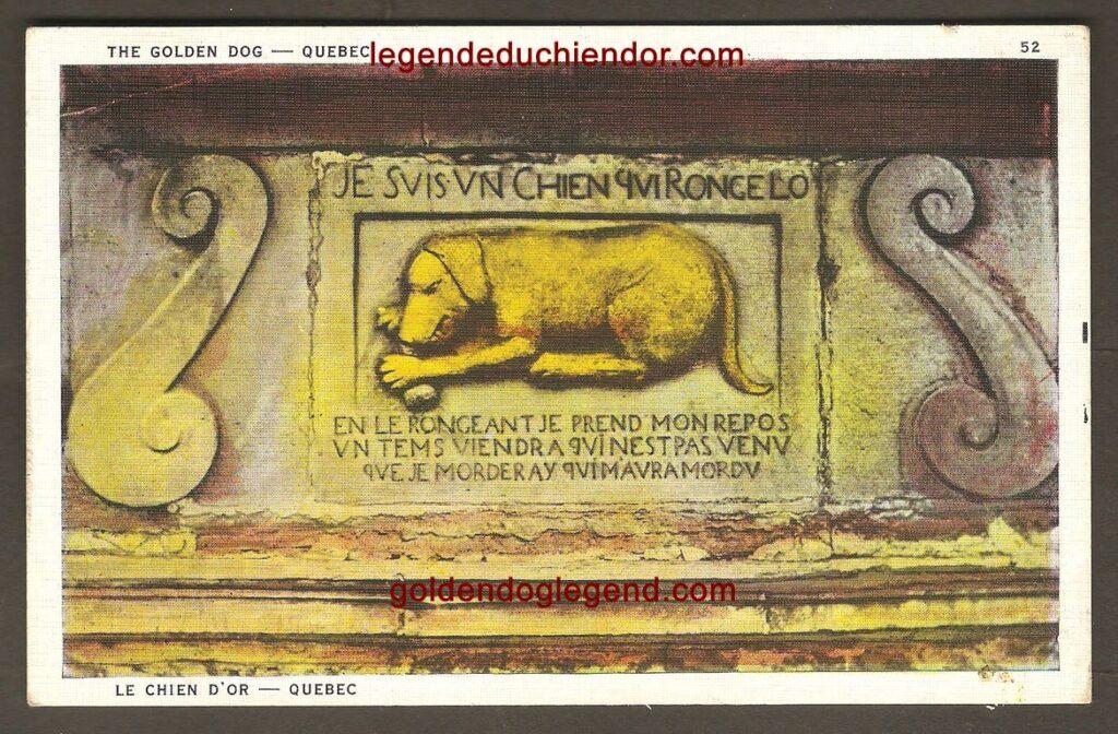 Carte postale colorée du bas-relief du Chien d'Or, publiée par la librairie Garneau, de Québec, probablement vers 1920. On remarque une courte présentation de la légende au verso, en anglais.