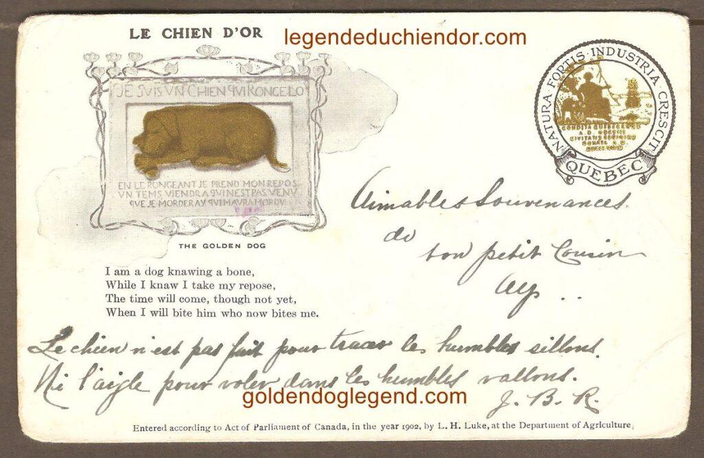 Autre carte postale du Chien d'Or portant les armoiries de la Ville de Québec. Cette fois-ci, l'inscription « LE CHIEN D'OR » a été ajoutée au-dessus de l'illustration du bas-relief. L'endos est également différent.