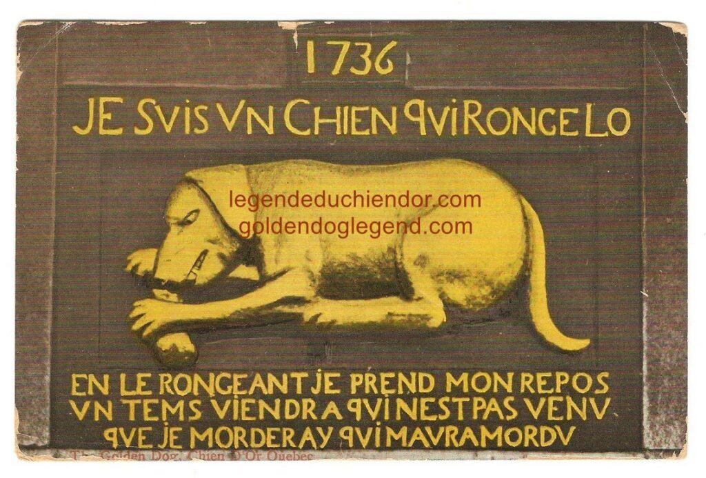 Carte postale illustrée du bas-relief du Chien d'Or, de The Valentine & Sons Publishing, Co. de Montréal. Elle porte un cachet postal « Que. Rob & Chic. RPO » (Québec, Roberval et Chicoutimi, bureau postal sur train), daté du 25 juin 1911.