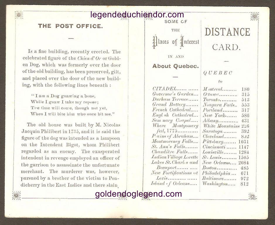 Les pages intérieures du dépliant publicitaire de l'hôtel du Chien d'Or, à Québec.