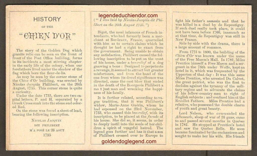 Trois pages intérieures du dépliant publicitaire de P. E. Poulin & Co., bijoutiers et opticiens, portant l'illustration du Chien d'or de la légende et des quatre vers qui y sont associés.