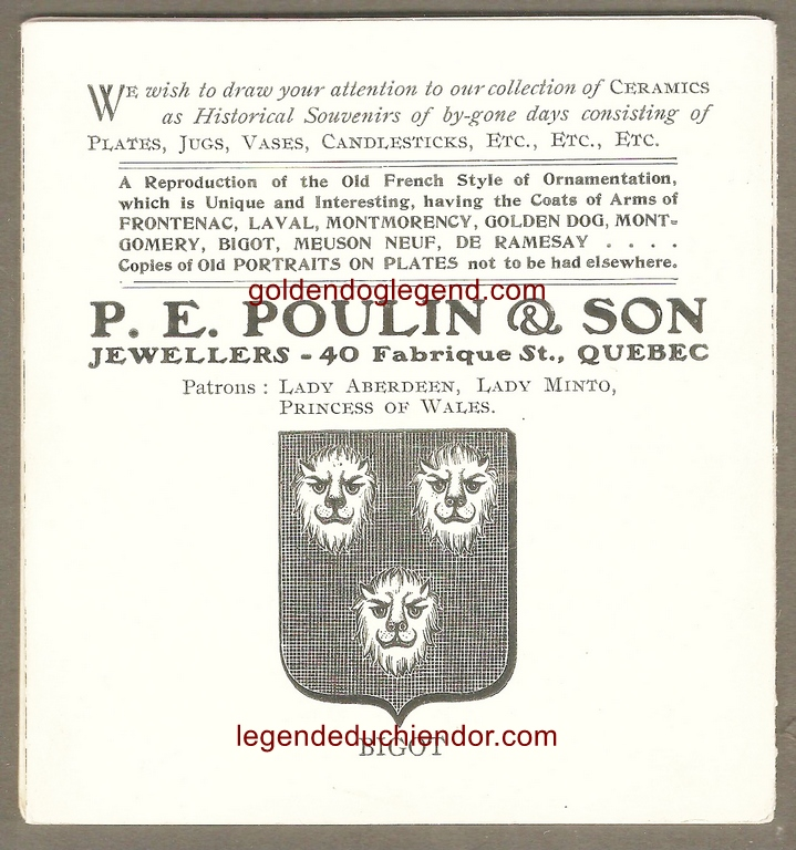 Endos d'un dépliant publicitaire du commerce P. E. Poulin & Sons), racontant l'histoire de la maison du Chien d'Or, associée à la légende.