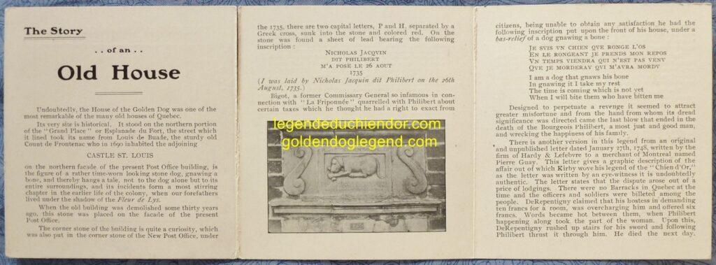 Pages intérieures dépliées de la publicité de P. E. Poulin & Sons, racontant l'histoire de la maison du Chien d'Or, à Québec.