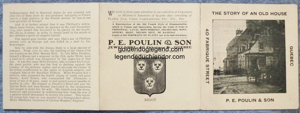 Pages extérieures dépliées de la publicité de P. E. Poulin & Sons, racontant l'histoire de la maison du Chien d'Or, à Québec.