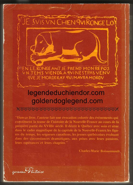 Quatrième de couverture du roman Le Chien d'Or, la troisième édition de la traduction de The Golden Dog en français par Pamphile LeMay. Publiée par les Éditions Garneau, elle regroupe les deux parties en un seul volume.