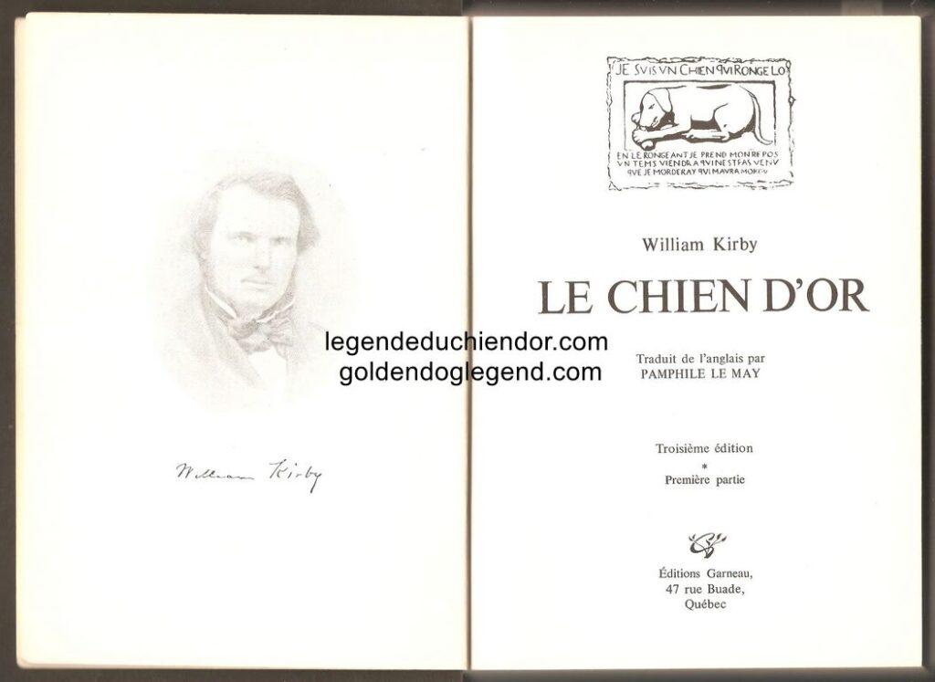 Page titre de la première partie du roman Le Chien d'Or, troisième édition de la traduction de The Golden Dog en français par Pamphile LeMay. Publiée par les Éditions Garneau, elle regroupe les deux parties en un seul volume.