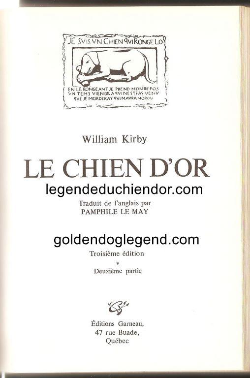 Page titre de la première partie du roman